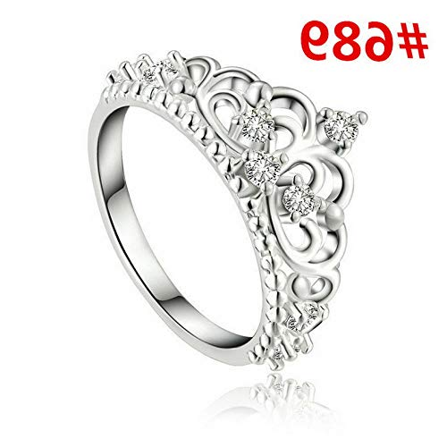 Dokis Fashion Women White Gold Plated Crystal Rhinestone Engagement Wedding Rings Gift | Model RNG - 4281 | 7