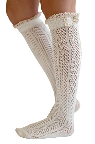 The Original Button Boot Socks with Lace Trim Boutique Socks by Modern Boho Ivory One Size (Women Boots Laces)