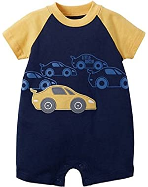 Child O' Mine Blue/Yellow, Car Romper, 0-3 mo.