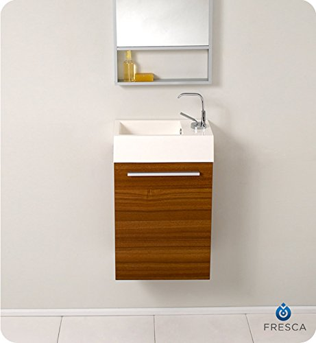 "Fresca Bath FVN8002TK Pulito Small Vanity with Tall Mirror, Teak - Dimensions of vanity: 15.5""W x 8.5""D x 24.75""H Dimensions of mirror: 15.75""W x 47.75""H x 2""d Materials: MDF with acrylic countertop/sink with overflow - bathroom-vanities, bathroom-fixtures-hardware, bathroom - 41731zy35VL -"