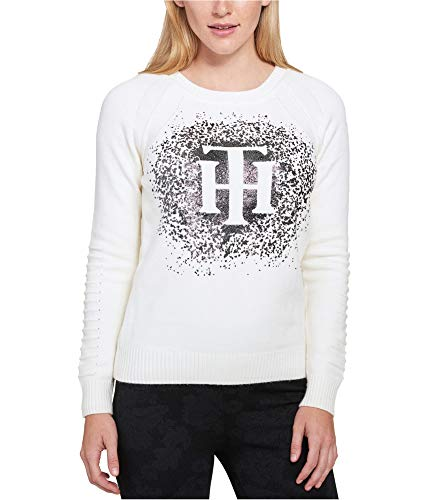Tommy Hilfiger Womens Knit Embellished Pullover Sweater Ivory M