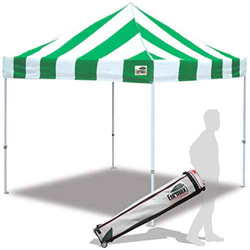 Eurmax 10 x10 Pop Up Canopy Tent Commercial Shelter with Heavy Duty Roller Bag Stripe Green White