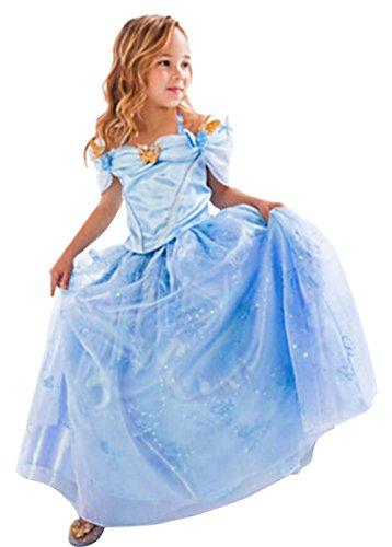 CherWow® Kids Children Girls Cinderella Fancy Princess Palace Cosplay Dress Blue 120cm/4Y-5Y