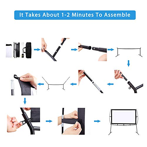 """Portable Projector Screen with Stand, Indoor and Outdoor Movie Screen 120"""" Diagonal 16:9 with Wrinkle-Free Design (Easy to Clean, 1.1 Gain, 160° Viewing Angle and Includes a Carry Bag) (120"""")"""