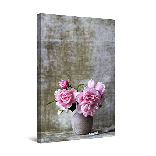STARTONIGHT Canvas Wall Art - Pink Peonies, Framed 24 x 36 Inches