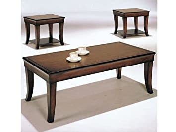 3pc Coffee Table End Table Set Cherry Finish
