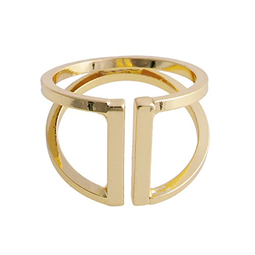 Tilt Womens Ring (CHUANGYUN Double Layer Not Parallel Design Opens Pattern Ring (Gold))
