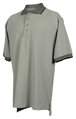 Tri-mountain Mens cotton pique golf shirt with jacquard trim. - SAGE / BLACK - Medium Combed Cotton Pique Golf Shirt