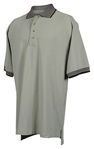 Tri-mountain Mens cotton pique golf shirt with jacquard trim. - SAGE / BLACK - - Combed Golf Cotton Pique Shirt
