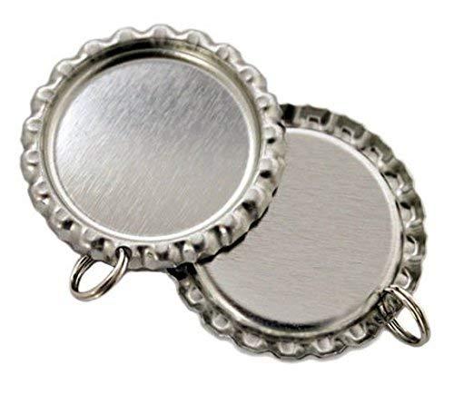 - Joyingle 100 Flat Bottle Cap Pendants with Holes and Split Rings Attached Key car Decoration-Silver Flattened Bottle caps for Photo Pendants DIY Crafts