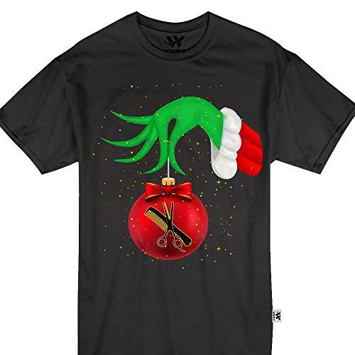 Hair Stylist Grinch Hand Santa Matching Pajamas Tshirt ()