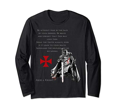 Knights Templar Christian Religious Warrior Oath Tshirt Long Sleeve T-Shirt ()