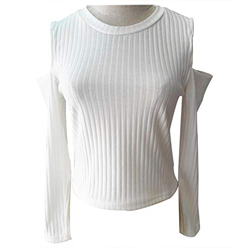 s Clearance New Fashion Woman Solid Color Sexy Round Neck Off-the-shoulder Solid Color Thick Sweater(US-6 /CN-M,White) ()