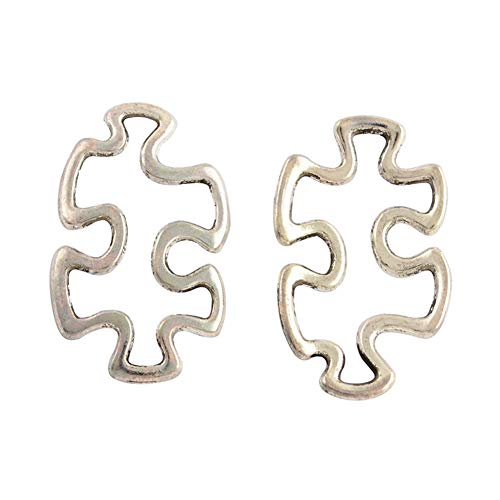 - PH PandaHall 200pcs Alloy Autism Puzzle Jigsaw Charm Tibetan Style Linking Rings Antique Silver Charm Links for DIY Crafting Bracelet Necklace Jewelry Making Accessories