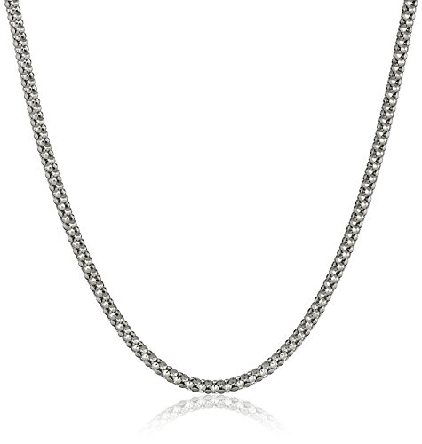 14k White Gold Italian 1.5mm Popcorn Chain Necklace, 18