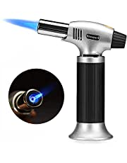Arespark Butane Torch, Professional Culinary Torch Refillable Portable Blow Torch Lighter with Safety Lock & Adjustable Flame for Kitchen Cooking Desserts Baking Soldering, White (Gas Not Included)