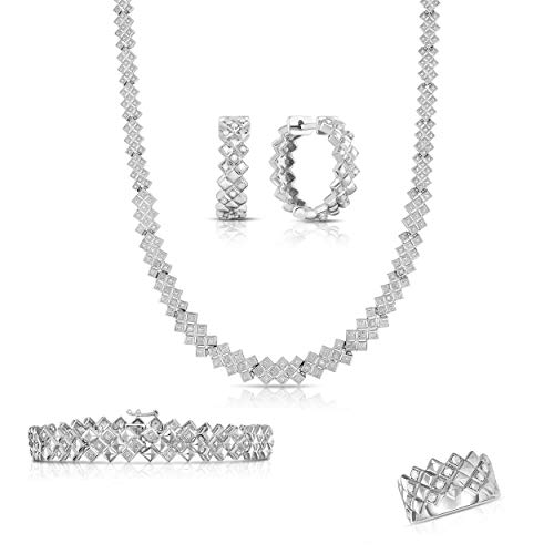 NATALIA DRAKE Sterling Silver 1.00cttw Genuine Diamond 4pc Square Link Set with Bracelet, Earring, Necklace and Ring
