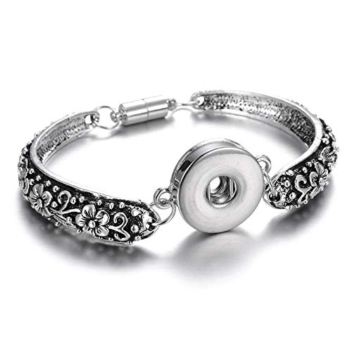Silver Magnetic Bangle Bracelet Drill Fit 18mm Noosa Snaps Button SLG03