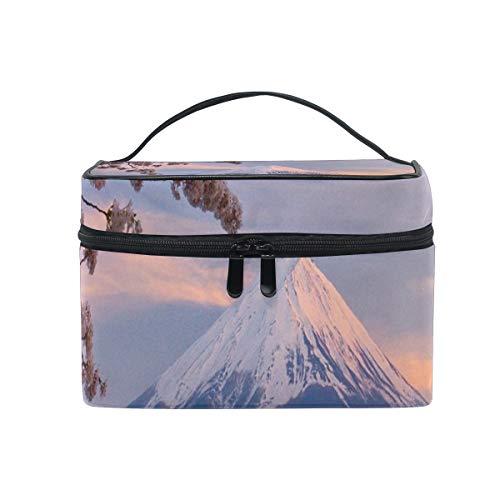 (Makeup Bag Japan Mount Fuji Cherry Blossoms Cosmetic Bag Portable Large Toiletry Bag for Women/Girls Travel)