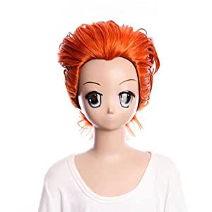 SureWells Orange short cosplay wig HUNTERxHUNTER Hisoka half wig lacefront wig