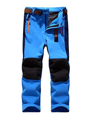 CATERTO Girls/Boys Fleeced Snow Hiking Pants Water Repellent Windproof Outdoor Sports Softshell Winter Pants Dark Blue XL