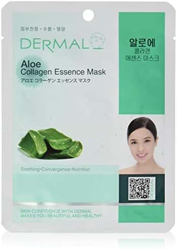 DERMAL Aloe Collagen Essence Facial Mask Sheet 23g Pack of 10