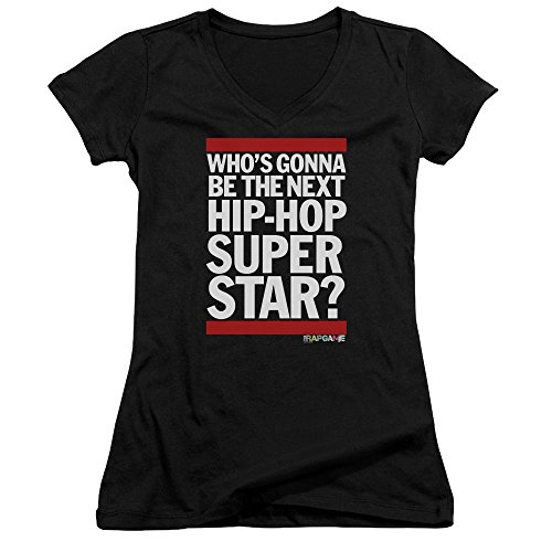 The Rap Game Next Hip Hop Superstar Women's Sheer Fitted V-Neck T Shirt by Trevco