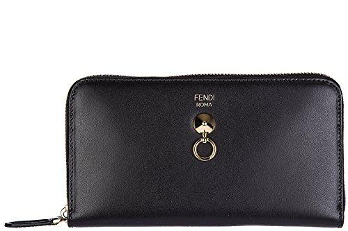 Fendi women's wallet leather coin case holder purse card bifold zip around black