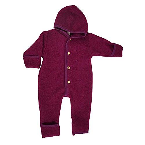 Merino Wool Suit - Engel 100% Organic Fleece Merino Wool Overall Romper Made in Germany (62/68 (3-6 Months), Berry Melange)