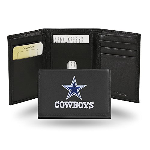 (NFL Dallas Cowboys Embroidered Genuine Cowhide Leather Trifold Wallet)