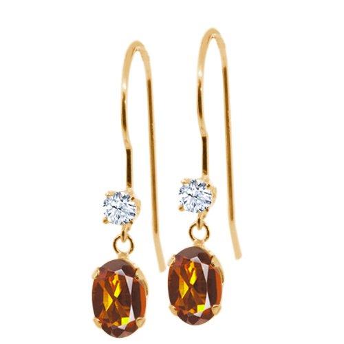 Gem Stone King 0.96 Ct Oval Orange Red Madeira Citrine White Topaz 14K Yellow Gold Earrings