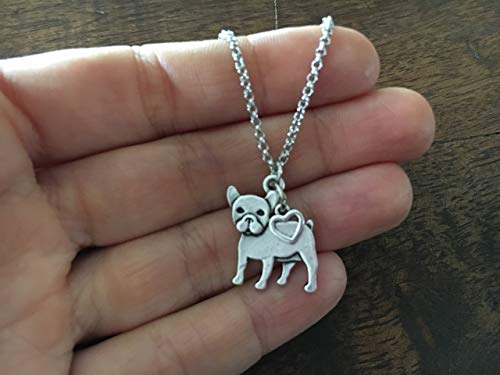 (French Bulldog Boston Terrier Charm Necklace, Pet Dog Lover Gift, Silver Metal with Heart Charm on a Chain, Ladies I Love Small Puppy)