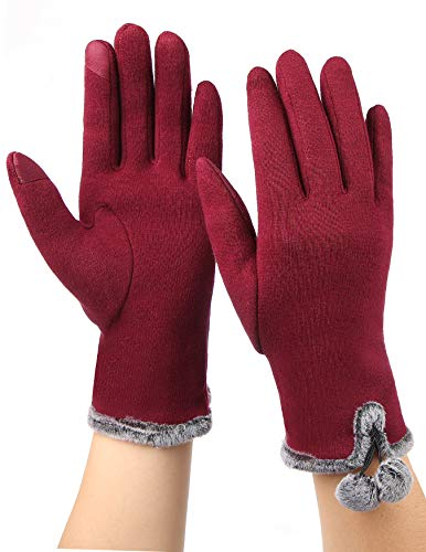 Women Touchscreen Gloves Winter Warm Suede Leather Fleece Glove for Driving, Texting, Unique Design (Red, Medium)