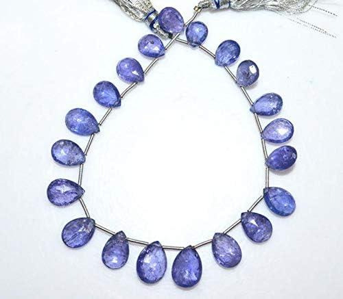 Semi Precious Gemstone Beads Unique 5 Inches NATURAL TANZANITE FACETED Tumble Shape Natural Gemstone Briolette Center Drill Beads Line