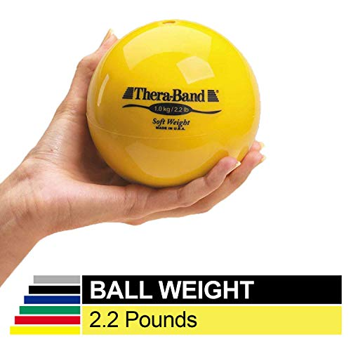 """Biofreeze Soft Weight, Hand Held Ball Shaped Isotonic Weight for Strength Training & Rehab Exercises, Pilates, Yoga, & Toning Workouts, Home Exercise Equipment Balls, 4.5"""" Diameter, Yellow, 2.2 Pounds"""