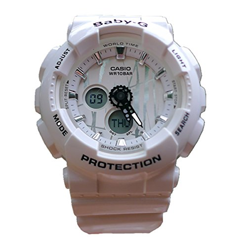 Casio Baby-G BA120SP-7A Scratch Pattern White Analog Digital Watch Womens