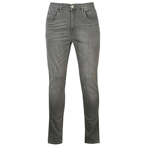 Tasche Uomo Zip Skinny Denim Nascosta Jeans Firetrap 5 Cotone Pantaloni Carbone pqd8n