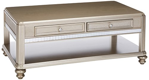Coaster Hollywood Glam Metallic Platinum Coffee Table with 2 Drawers