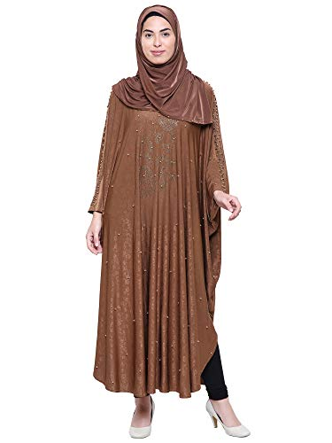 ZUZUU Women's Crystal Lycra Butterfly Style Chadri Abaya Stone Work Abaya Burqa with Hijab, Dupatta and Mouthpeice (Light Brown_Free Size_Burqa For Woman)