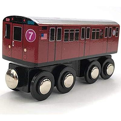 Munipals Wooden MP01-11RB NYC MTA Subway 7 Train Car Flushing Local Redbird R33ML: Toys & Games
