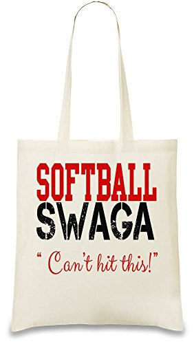 Softball Swagga Slogan Custom Printed Tote Bag  100  Soft Cotton  Natural Color   Eco Friendly  Unique  Re Usable   Stylish Handbag For Every Day Use  Custom Shoulder Bags By Bang Bangin