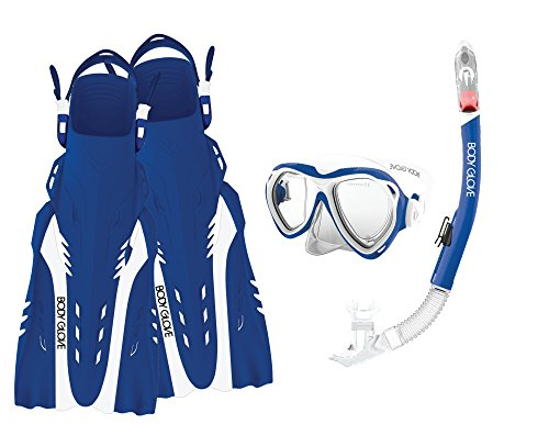 Body Glove Aquatic Enlighten II Mask Snorkel and Fins Set, Large/X-Large, Blue/White