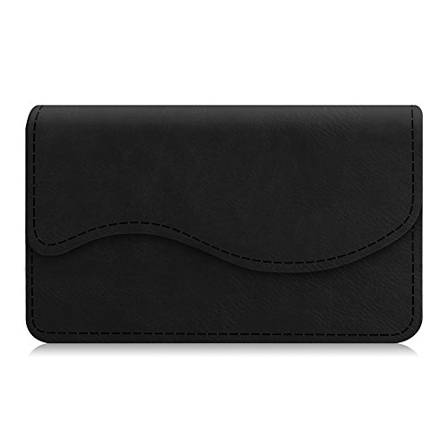 Business Card Holder / Credit Card Wallet, Fintie Premium PU Leather Handmade Universal Card Case Organizer With Magnetic Closure, Black
