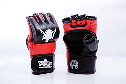 Essential MMA Gloves for Sparring Training - Handmade, Made from Premium Cowhide Leather - Mixed Martial Arts Grappling Gloves - Best for Home Punching Bag or Fightclub Cage Fighting - Perfect for Men ()