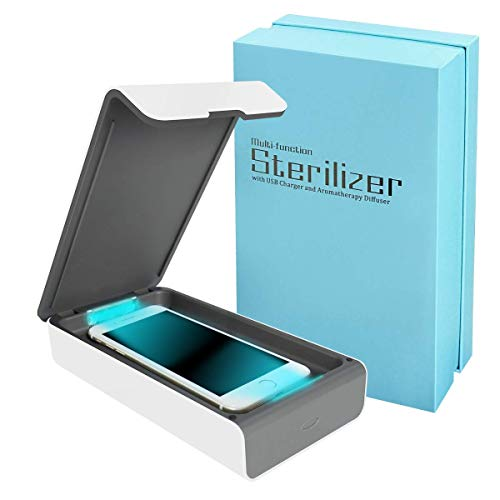 Smart Phone UV Sanitizer Portable UV Light Cell Phone Sterilizer Cleaner Aromatherapy Function Disinfector with USB Charging for iPhone Android Smart Phone Toothbrush Jewelry Watches (Best Cell Phone Cleaner)