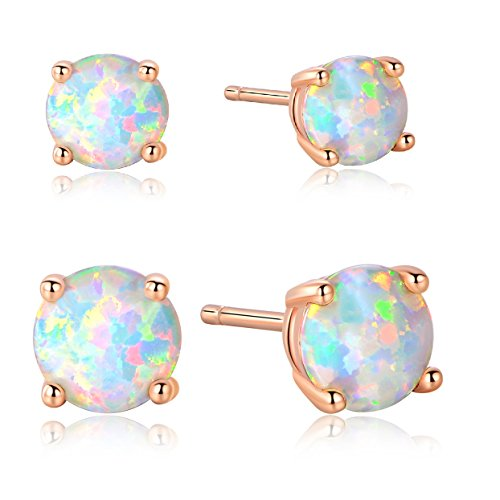 GEMSME 5mm/6mm 18K Rose Gold Plated Opal Stud Earrings