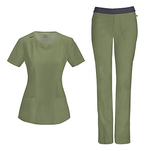 Cherokee Infinity by Women's With Certainty Round Neck Top 2624A & Low Rise Pant 1124A Scrub Set (Antimicrobial) (Olive - Large)