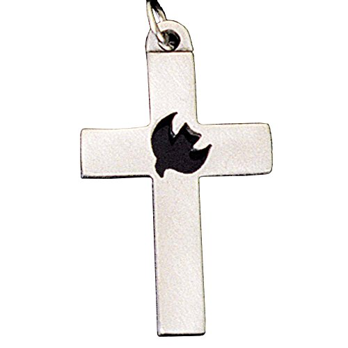 Thick, Boxed Cross With Cutout Dove Center Pewter 24-Inch Pendant Necklace