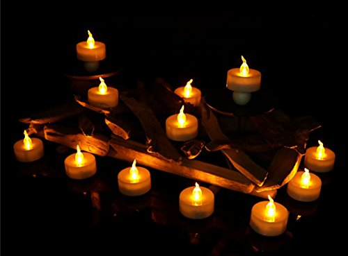 Led Candles Tea Lights Timer Amber Yellow, 12pcs Flameless Flickering Candles Lights with Timer for Halloween Christmas Church Holiday Decorations