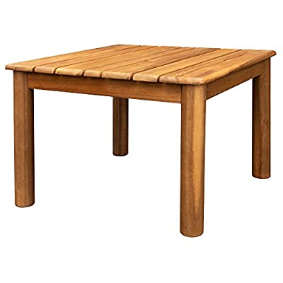 Villa Acacia Wooden Outdoor Side Table, 20 Inch Square, Weather Resistant for Patio and Backyard, Brown - Outdoor Wood Side and End Table - Made from natural Acacia, a beautiful and durable tropical hardwood that resists rain and the elements Measures 20 L x 20 W x 20 H Inches - Great for patios, gardens or decks and even sun rooms and other indoor areas Durable Wood - Acacia resists rain and elements and will perform great in a garden and naturally builds a patina over time. To maintain color, seal annually with a wood finish. - patio-tables, patio-furniture, patio - 41736u11tsL. SS400  -